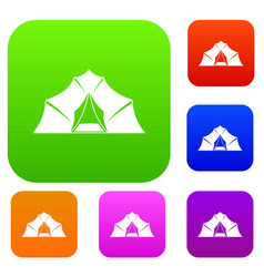 hiking and camping tent set color collection vector image