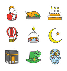 Holidays color icons set vector
