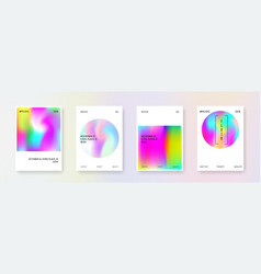 Holographic cover set abstract backgrounds vector