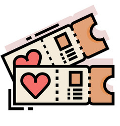 Honeymoon tickets linecolor vector