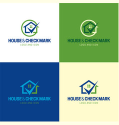 house and check mark logo and icon vector image