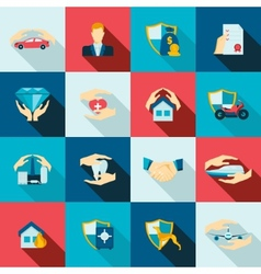 Insurance icons flat vector