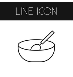 Isolated cooking outline bowl element can vector