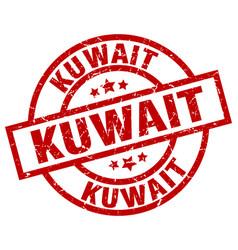kuwait red round grunge stamp vector image