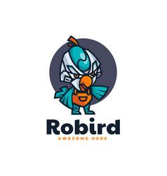 Logo robot bird mascot cartoon style vector