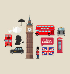 london national symbols set vector image