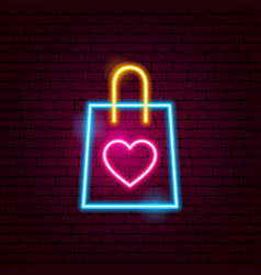 love shopping bag neon sign vector image