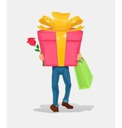 Man carries a cardboard box gift vector