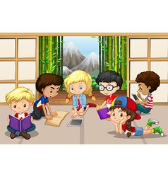 Many children reading in room vector image