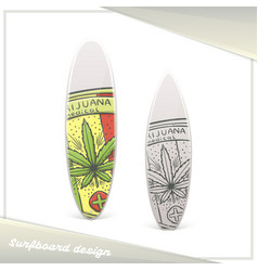 Medical marijuana surfboard five vector