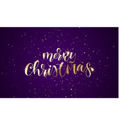 merry christmas greeting card gold glitter vector image