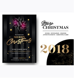 merry christmas greeting card template elegant vector image