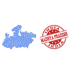 Mosaic map of madhya pradesh state with linked vector