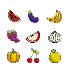 Natural vegetable background icon vector