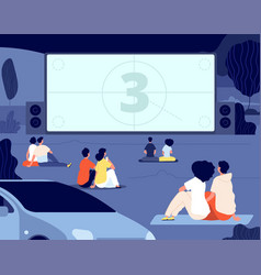 open air cinema outdoor relax car movie night vector image