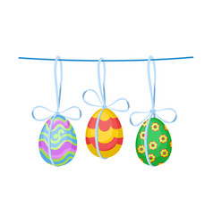 ornate easter eggs with bows hanging on rope vector image
