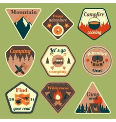 Outdoors tourism camping flat badges set vector
