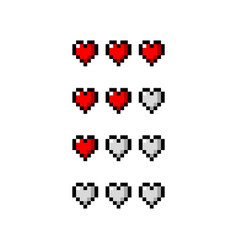 pixel art life hearts red set - isolated vector image
