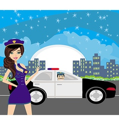 police patrol at night vector image