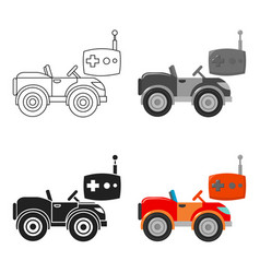 Rc car icon in cartoon style isolated on white vector