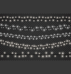 realistic light garlands with led bulbs vector image