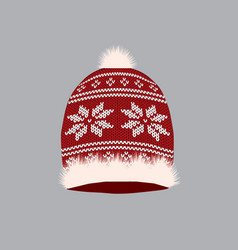 red knitted winter hat vector image