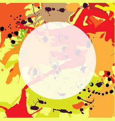 Red orange maroon ink splashes round frame vector