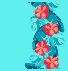 seamless pattern with hibiscus flowers and palm vector image