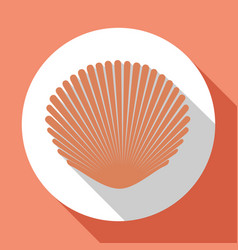 seashell flat icon light pink color with long vector image
