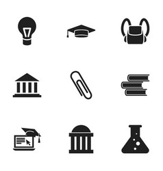 set of 9 editable school icons includes symbols vector image