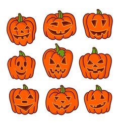 Set of funny jack-o-lanterns on white vector