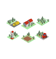 set of isometric farm icons tractors vector image