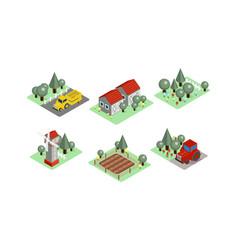 Set of isometric farm icons tractors vector