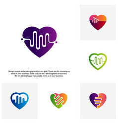 Set of love heart with pulse logo elements and vector
