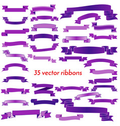 set of thirty five violet empty ribbons vector image