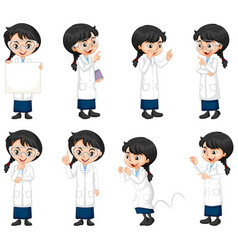 Set science student doing different poses vector
