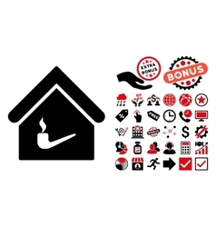 Smoking Room Flat Icon with Bonus vector