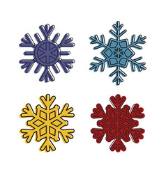 snowflake icon set color outline style vector image