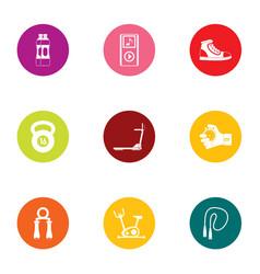 Sport intervention icons set flat style vector