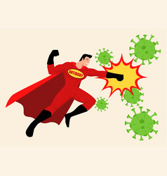 superhero fighting viruses vector image