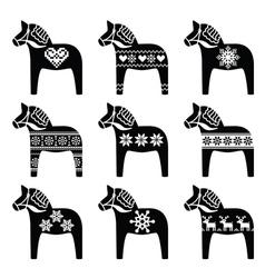 Swedish Dala Dalecarlian horse winter pattern vector