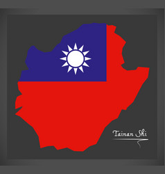 Tainan shi taiwan map with taiwanese national flag vector