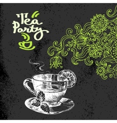 Tea vintage background Hand drawn sketch vector image