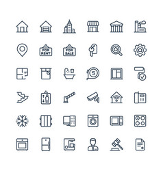 Thin line icons set with real estate vector
