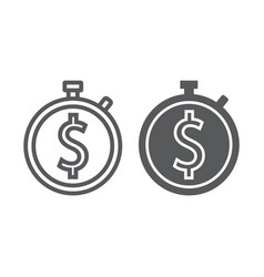time is money line and glyph icon finance vector image