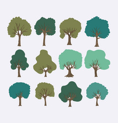 Trees forest set collection vector