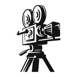 vintage video camera logo for movie or cinema vector image