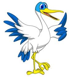 White stork thumb up vector image
