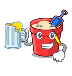With juice sand bucket mascot cartoon vector