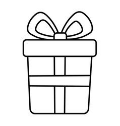 wrapped gift box bow decoration merry christmas vector image